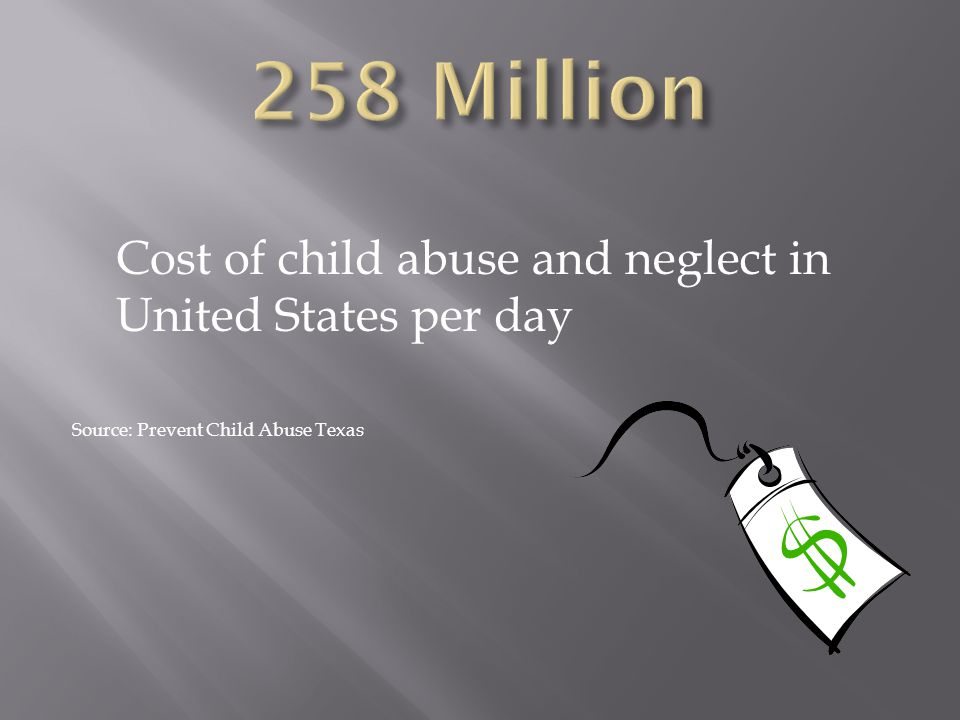 258 Million Cost of child abuse and neglect in United States per day