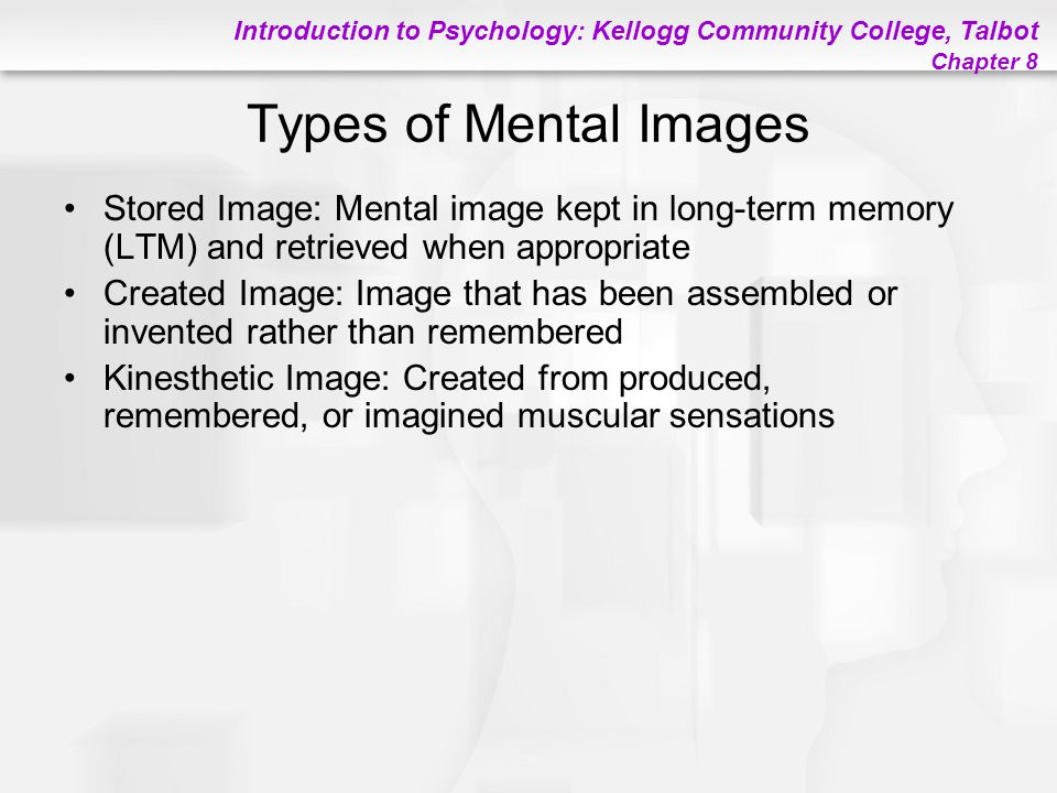 Types of Mental Images Stored Image: Mental image kept in long-term memory (LTM) and retrieved when appropriate.