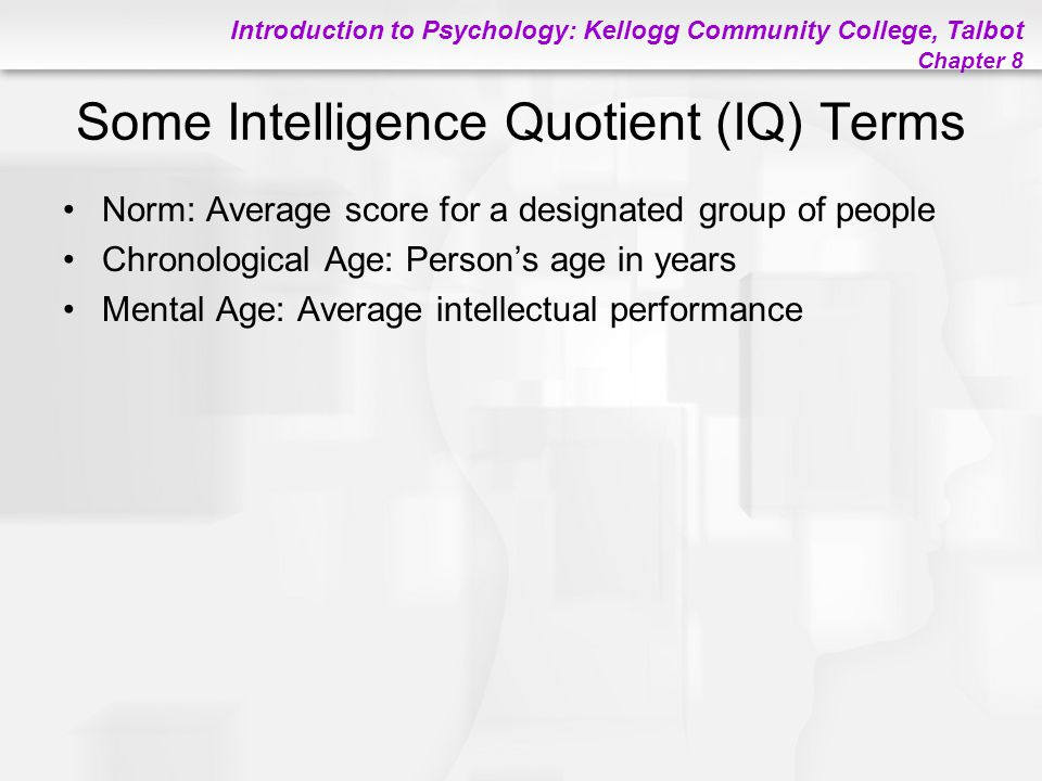 Some Intelligence Quotient (IQ) Terms