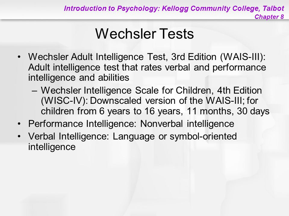 Wechsler adult intelligence scale fourth edition wais iv