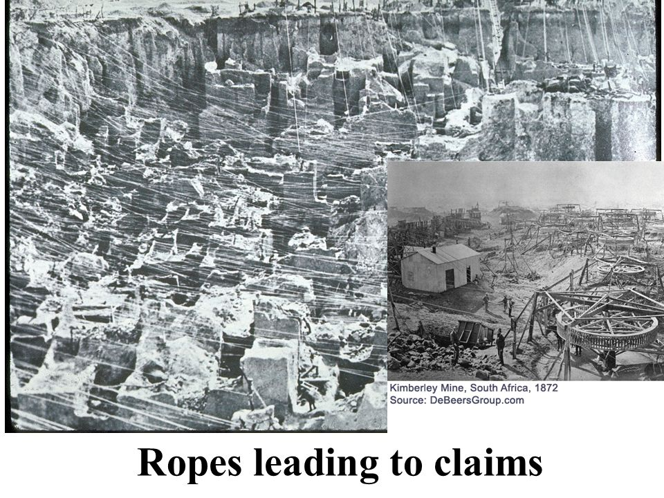 Ropes from to surface mine claims Ropes leading to claims