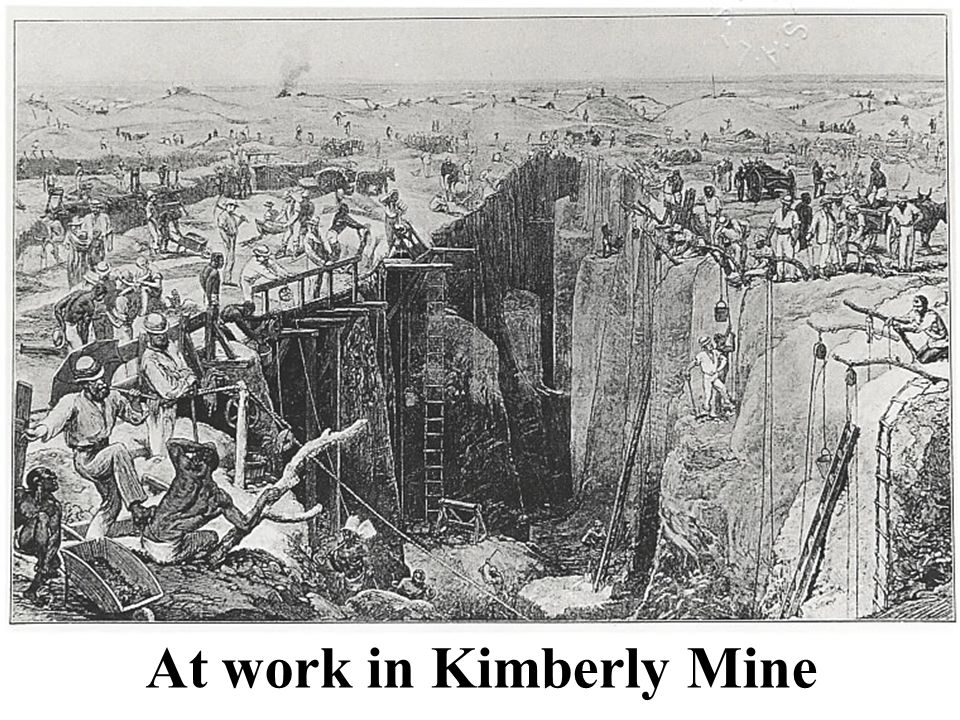 Ropes from to surface mine claims At work in Kimberly Mine