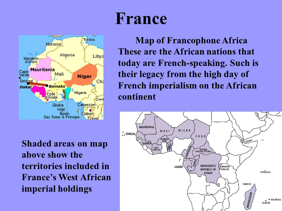 Map of Francophone Africa