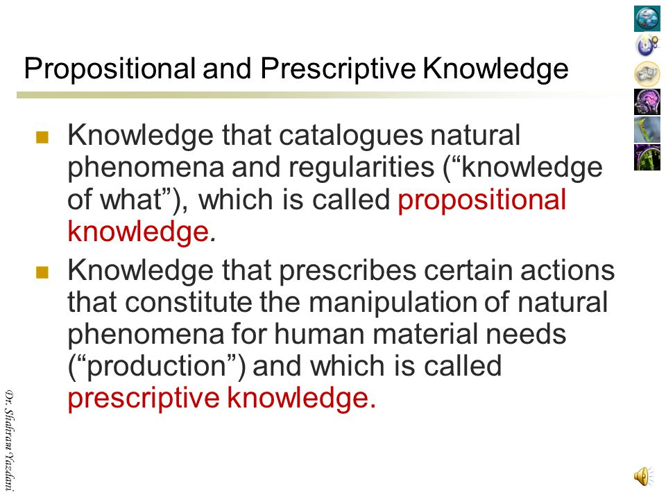 Propositional and Prescriptive Knowledge