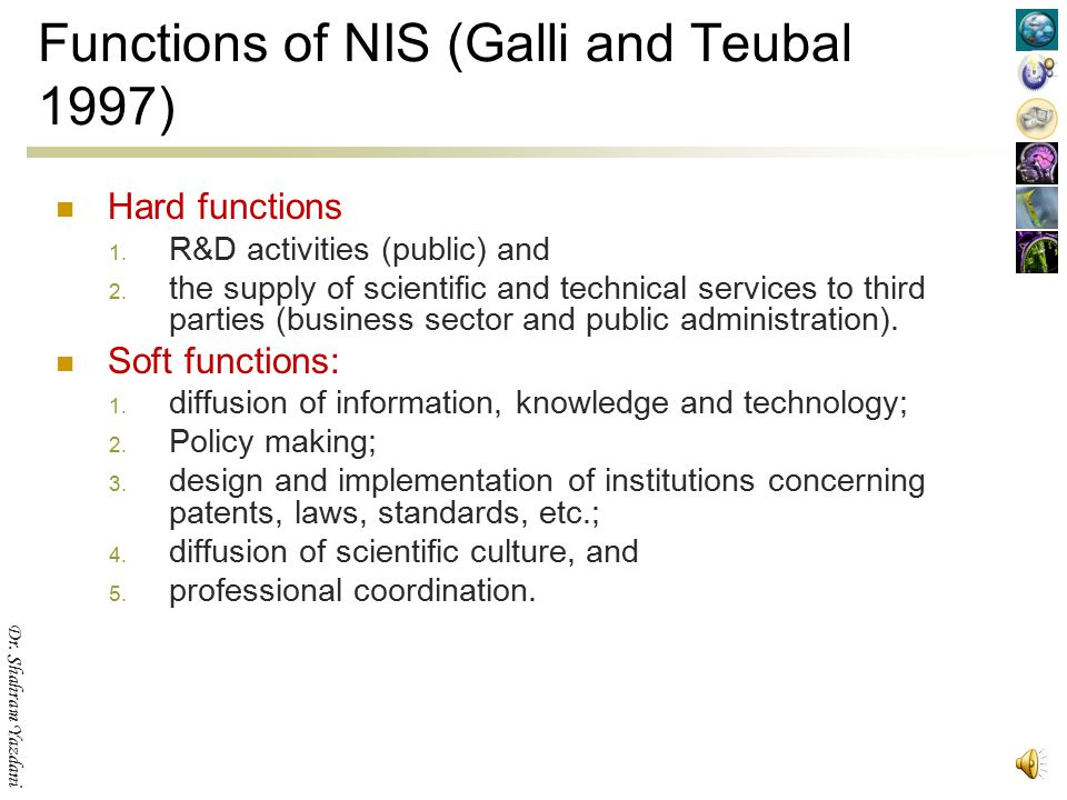 Functions of NIS (Galli and Teubal 1997)