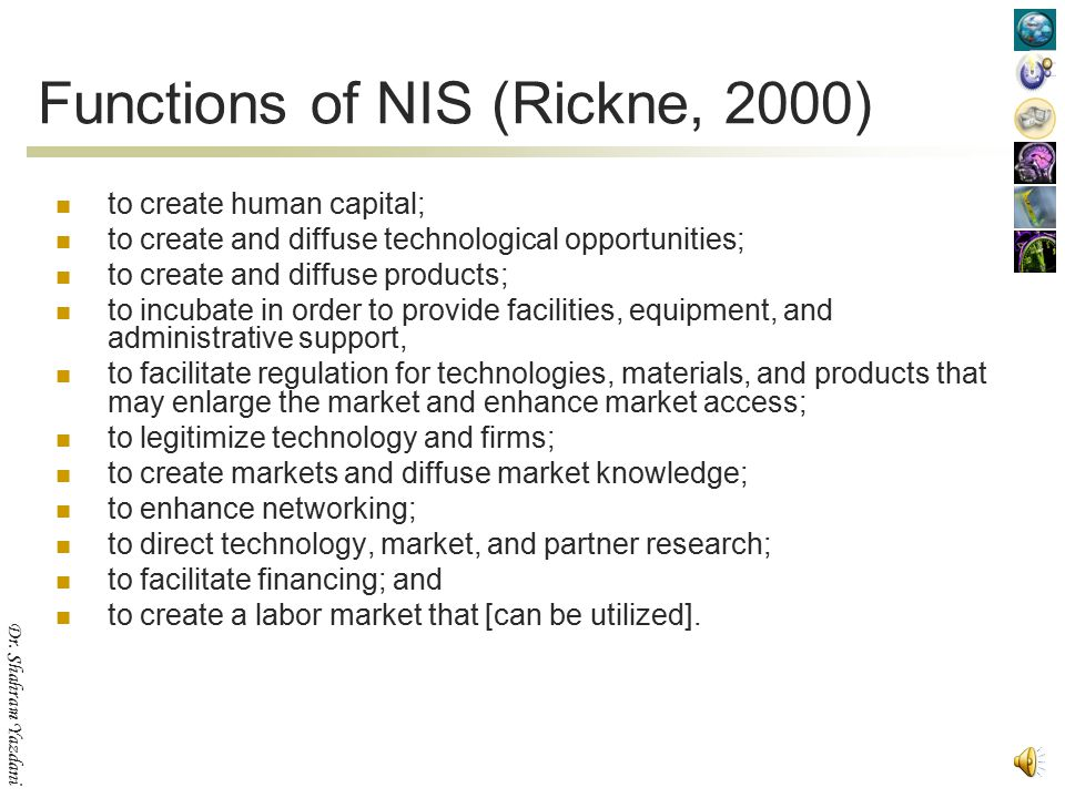 Functions of NIS (Rickne, 2000)
