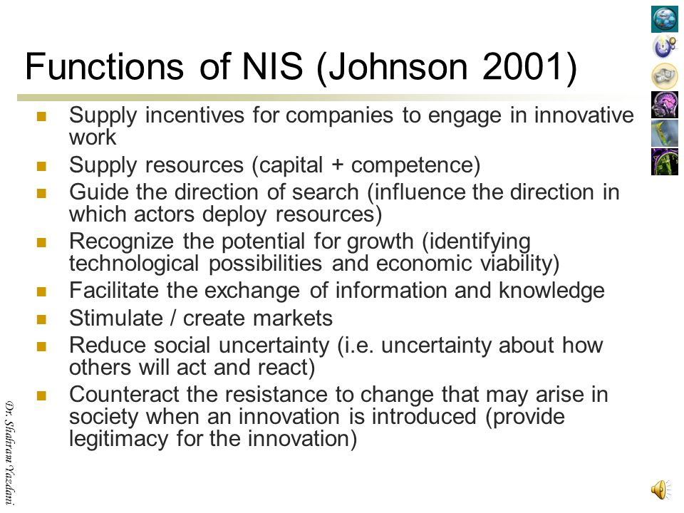 Functions of NIS (Johnson 2001)