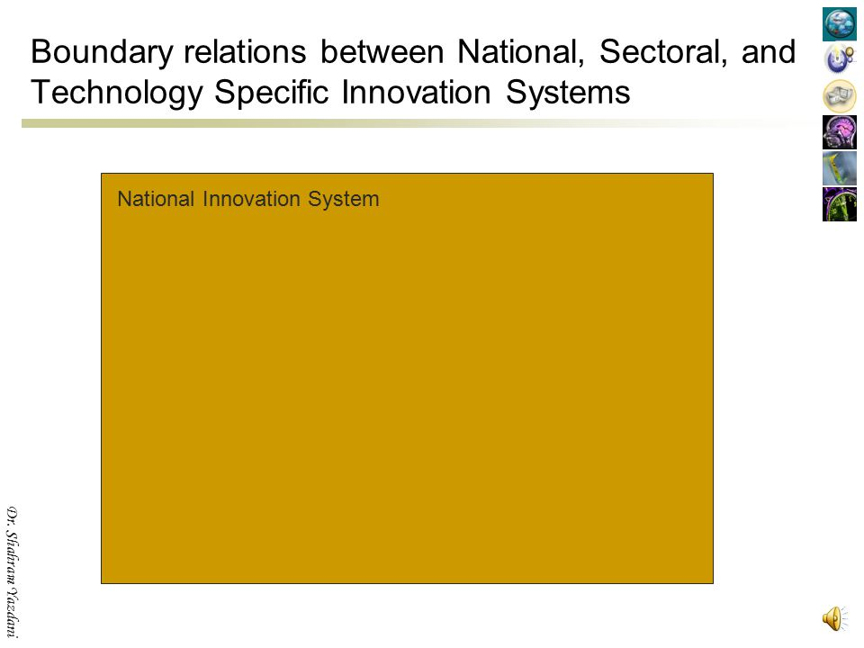 Boundary relations between National, Sectoral, and Technology Specific Innovation Systems