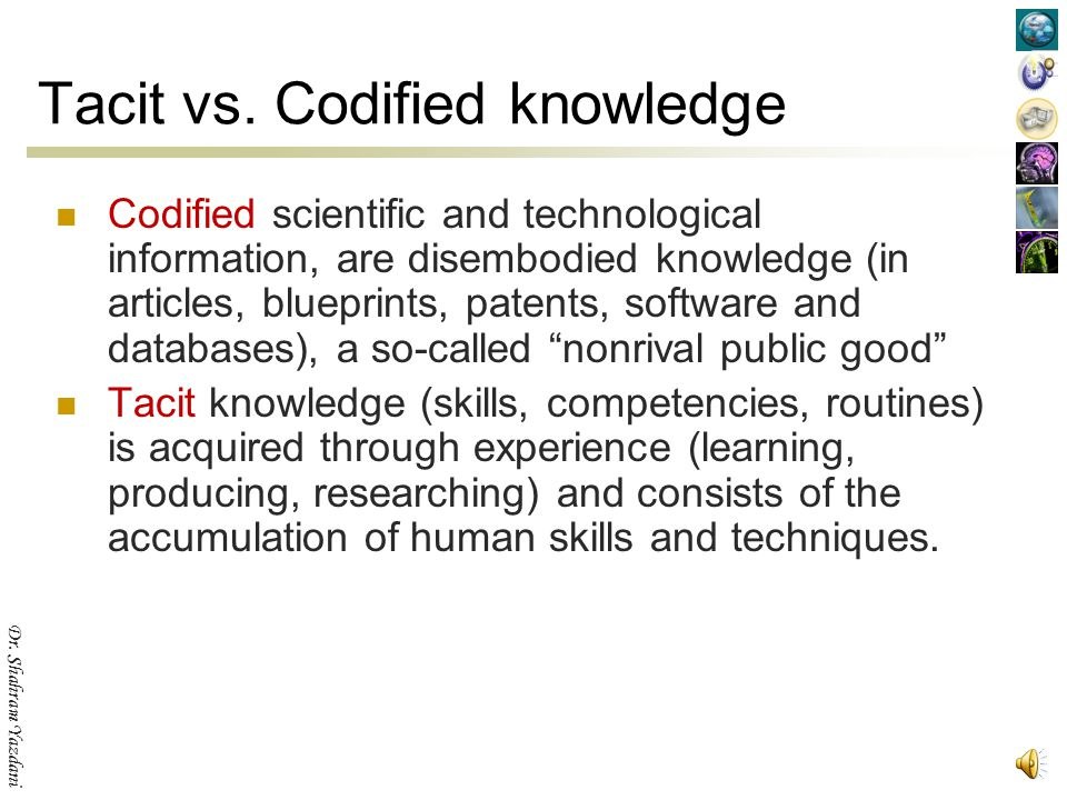 Tacit vs. Codified knowledge