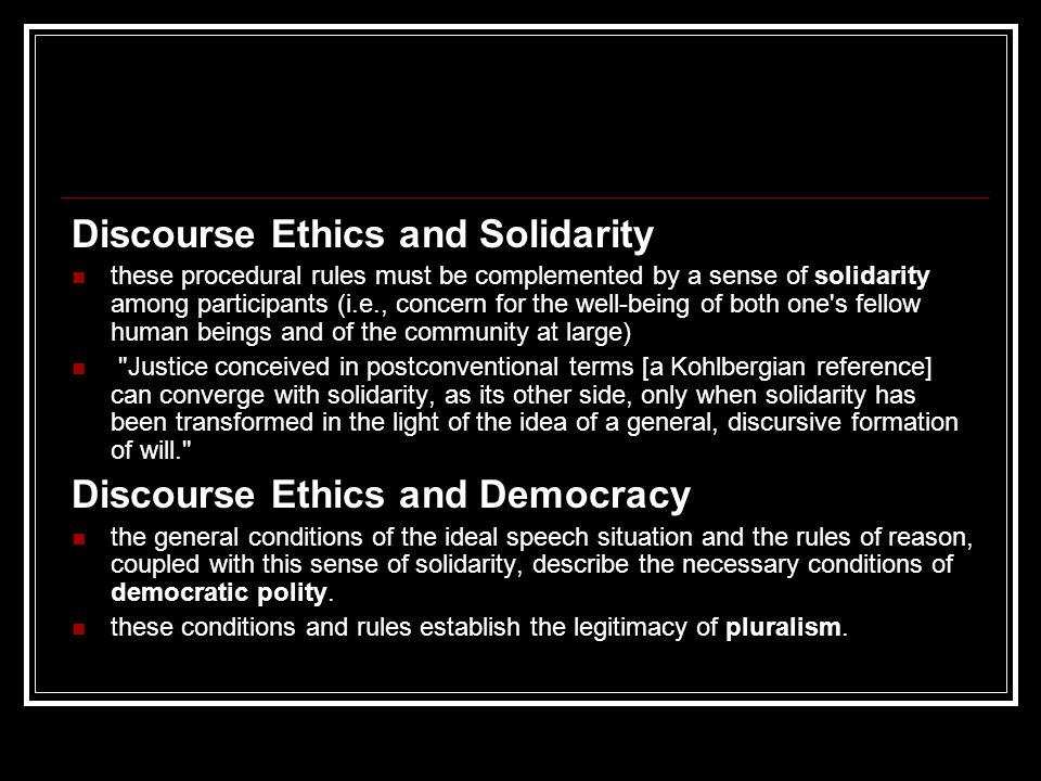 Discourse Ethics and Solidarity