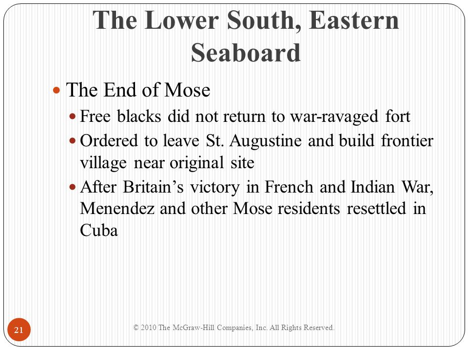 The Lower South, Eastern Seaboard