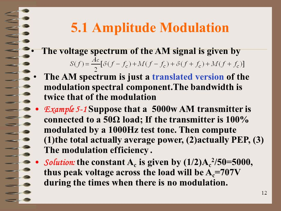 5.1 Amplitude Modulation The voltage spectrum of the AM signal is given by.