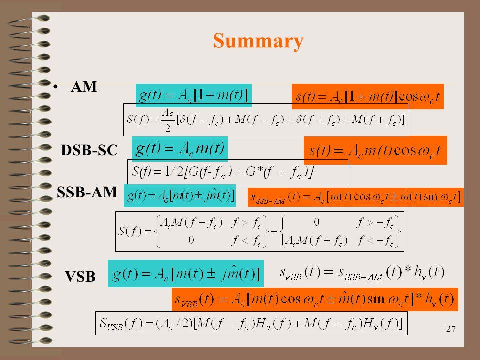 Summary AM DSB-SC SSB-AM VSB