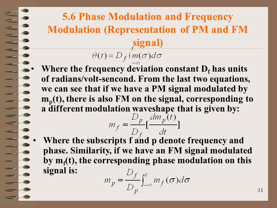 5.6 Phase Modulation and Frequency Modulation (Representation of PM and FM signal)