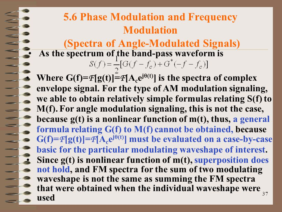 5.6 Phase Modulation and Frequency Modulation (Spectra of Angle-Modulated Signals)