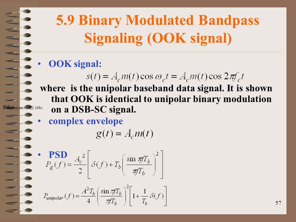 5.9 Binary Modulated Bandpass Signaling (OOK signal)