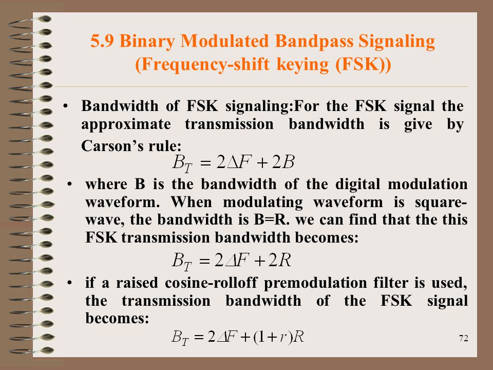 5.9 Binary Modulated Bandpass Signaling (Frequency-shift keying (FSK))