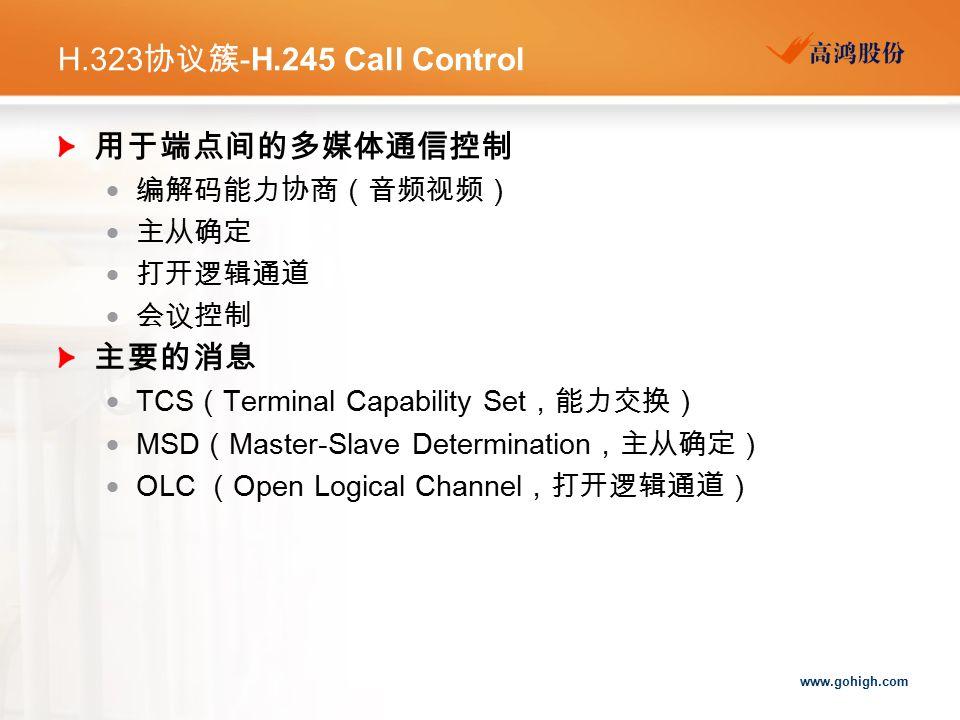 H.323协议簇-H.245 Call Control 用于端点间的多媒体通信控制 主要的消息 编解码能力协商(音频视频) 主从确定