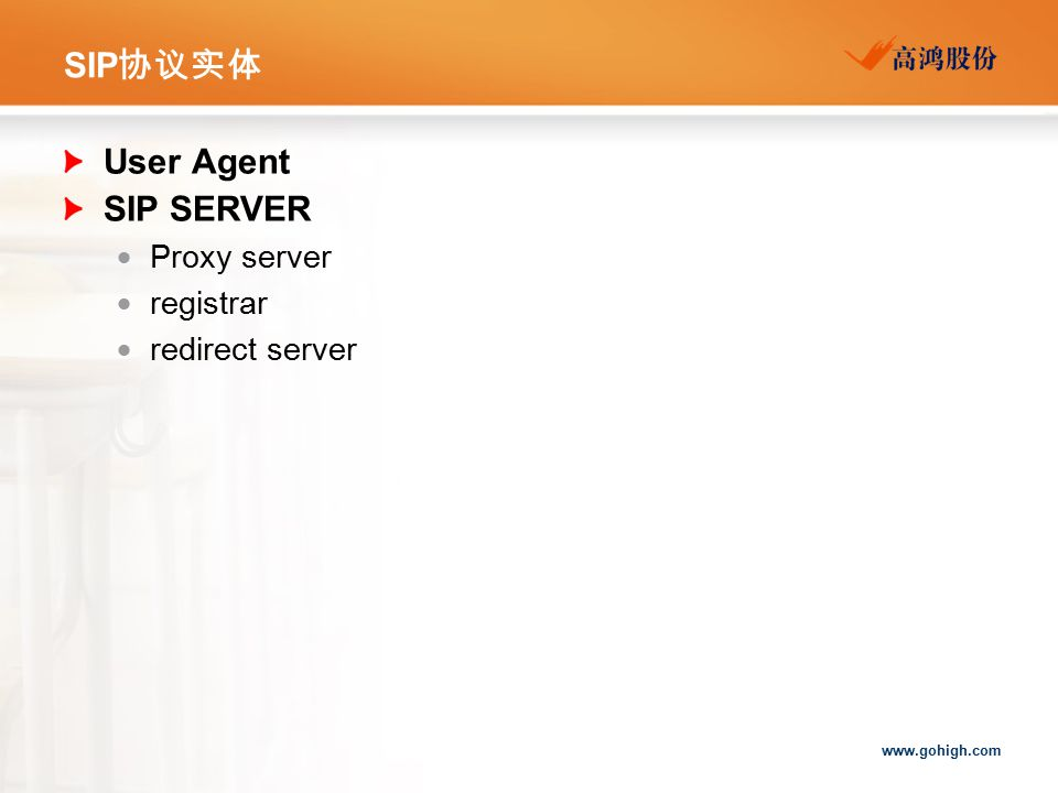 SIP协议实体 User Agent SIP SERVER Proxy server registrar redirect server