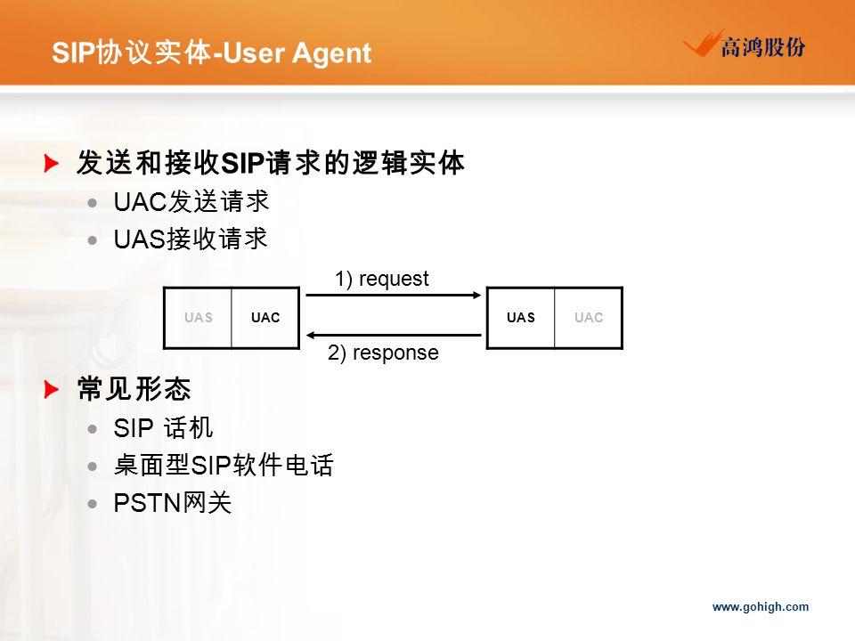 SIP协议实体-User Agent 发送和接收SIP请求的逻辑实体 常见形态 UAC发送请求 UAS接收请求 SIP 话机