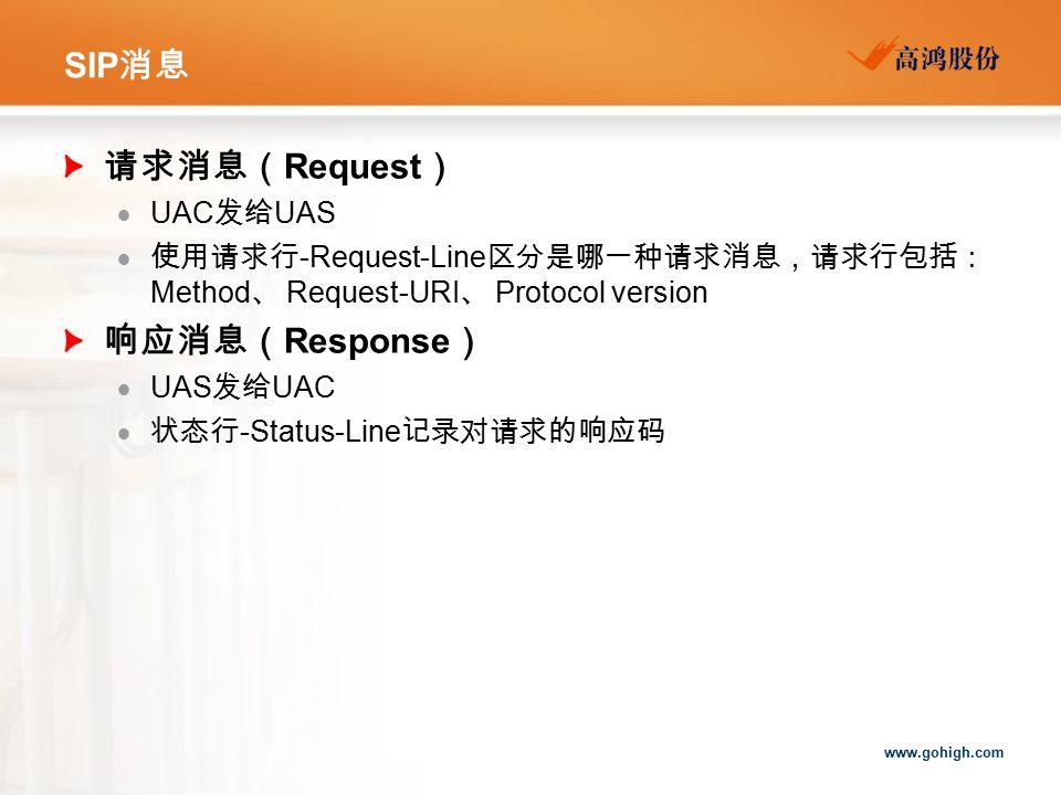 SIP消息 请求消息(Request) 响应消息(Response) UAC发给UAS