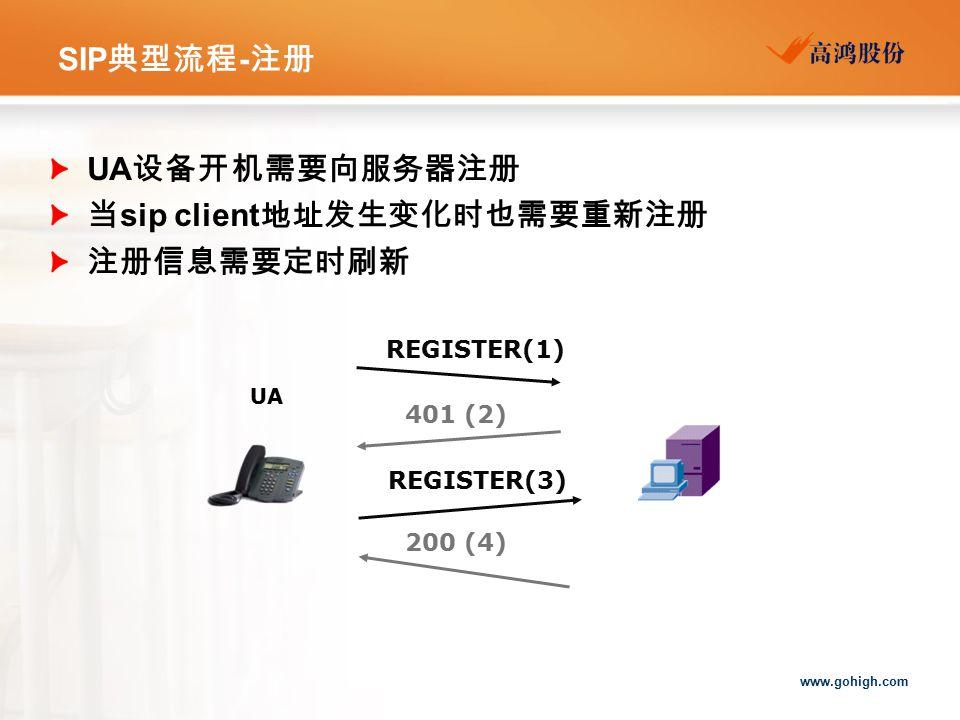 当sip client地址发生变化时也需要重新注册 注册信息需要定时刷新