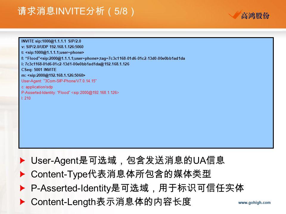 User-Agent是可选域,包含发送消息的UA信息 Content-Type代表消息体所包含的媒体类型