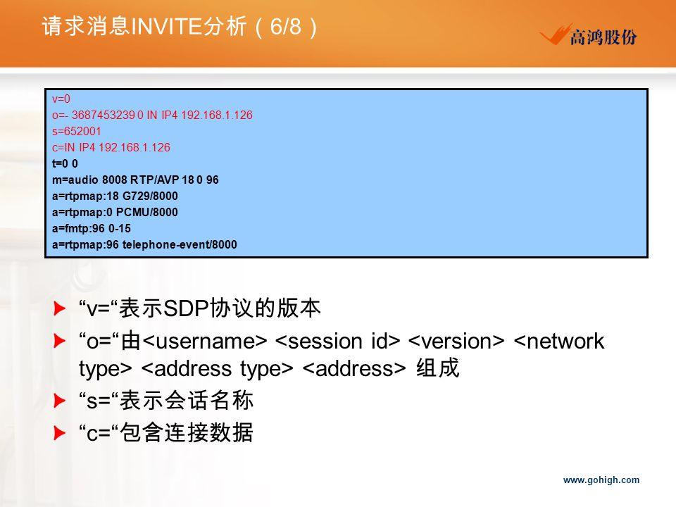 请求消息INVITE分析(6/8) v= 表示SDP协议的版本