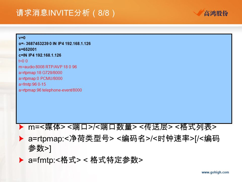 m=<媒体> <端口>/<端口数量> <传送层> <格式列表>
