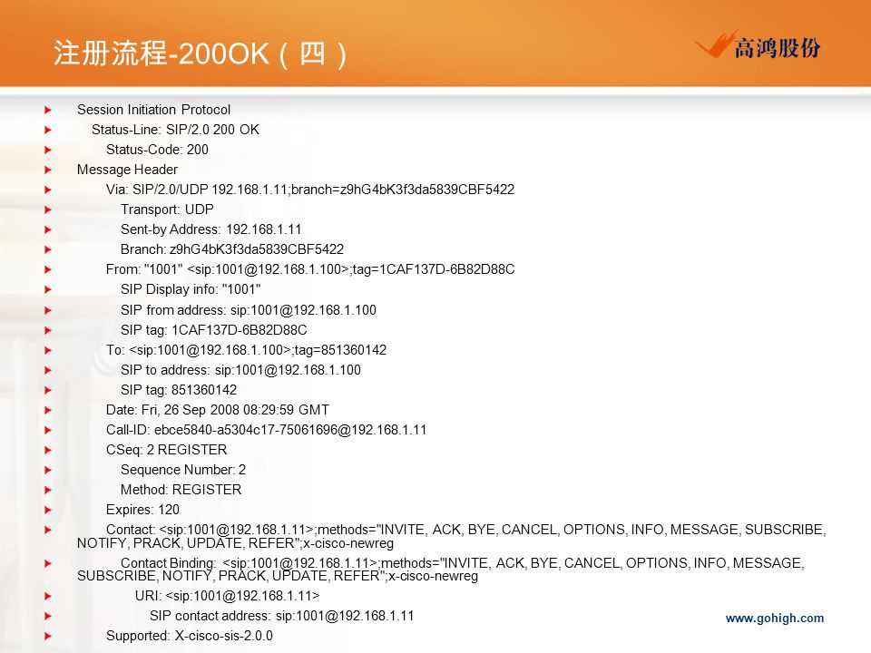 注册流程-200OK(四) Session Initiation Protocol Status-Line: SIP/2.0 200 OK