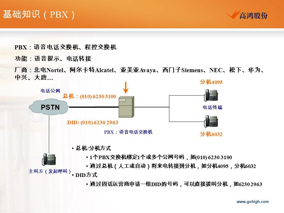 基础知识(PBX) PSTN PBX:语音电话交换机、程控交换机 功能:语音提示、电话转接