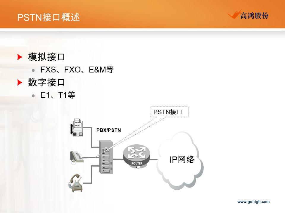 PSTN接口概述 模拟接口 FXS、FXO、E&M等 数字接口 E1、T1等 PSTN接口 PBX/PSTN IP网络