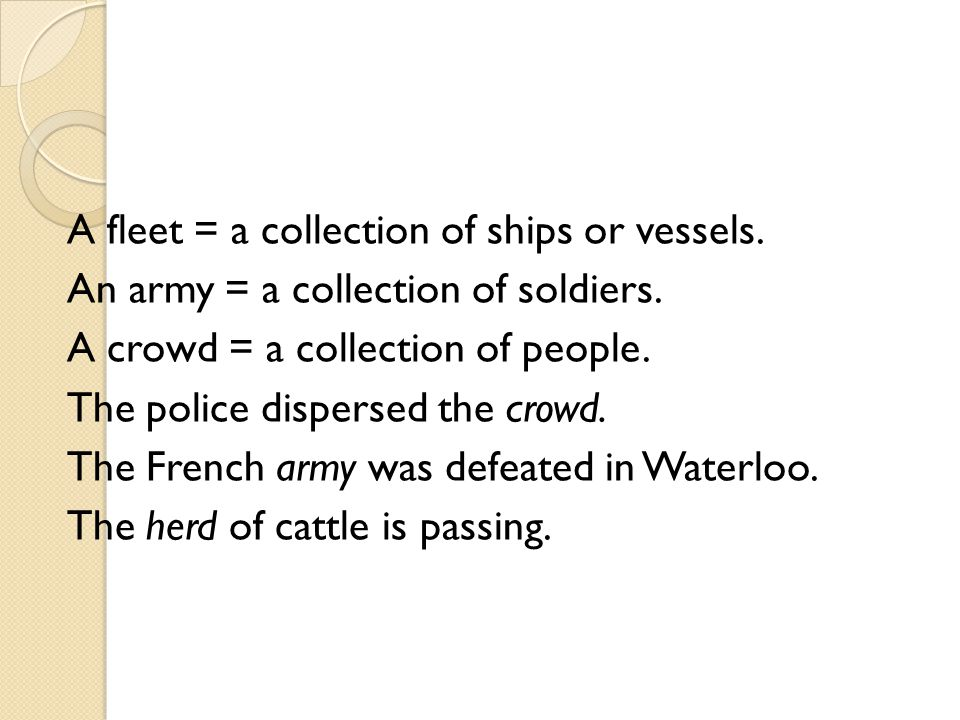 A fleet = a collection of ships or vessels