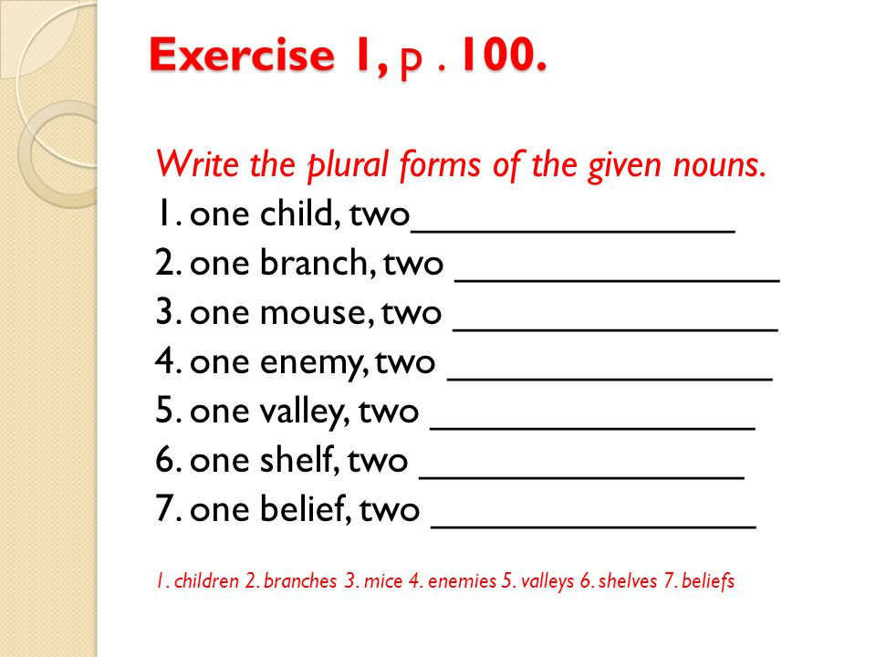 Exercise 1, p . 100. Write the plural forms of the given nouns.