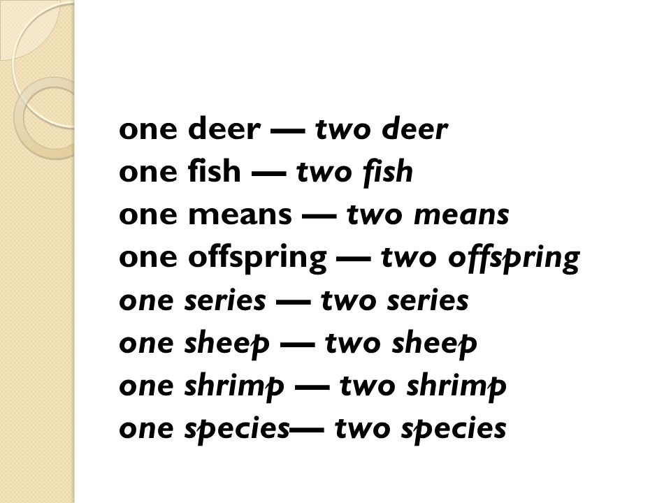 one deer — two deer one fish — two fish one means — two means one offspring — two offspring one series — two series one sheep — two sheep one shrimp — two shrimp one species— two species