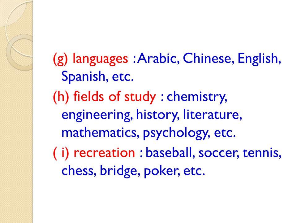(g) languages : Arabic, Chinese, English, Spanish, etc