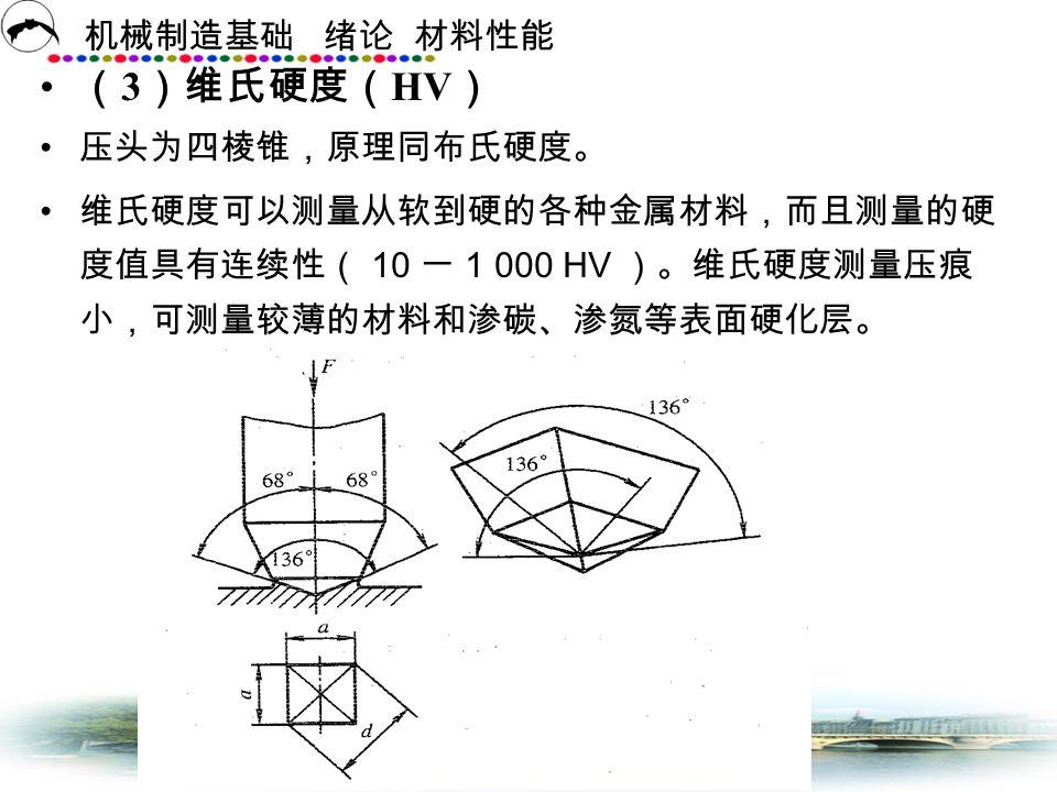 (3)维氏硬度(HV) 压头为四棱锥,原理同布氏硬度。
