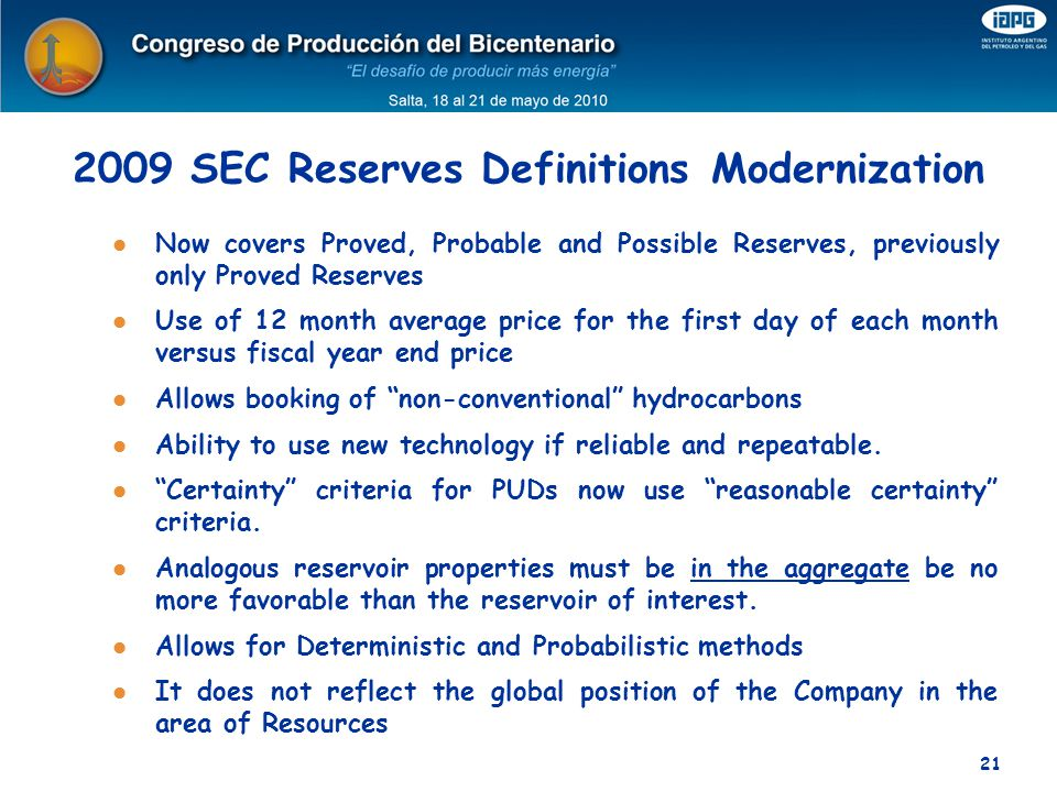 2009 SEC Reserves Definitions Modernization