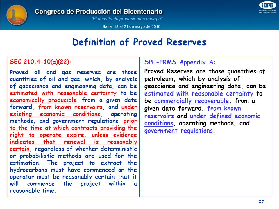 Definition of Proved Reserves