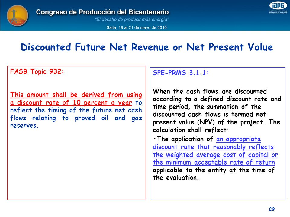Discounted Future Net Revenue or Net Present Value