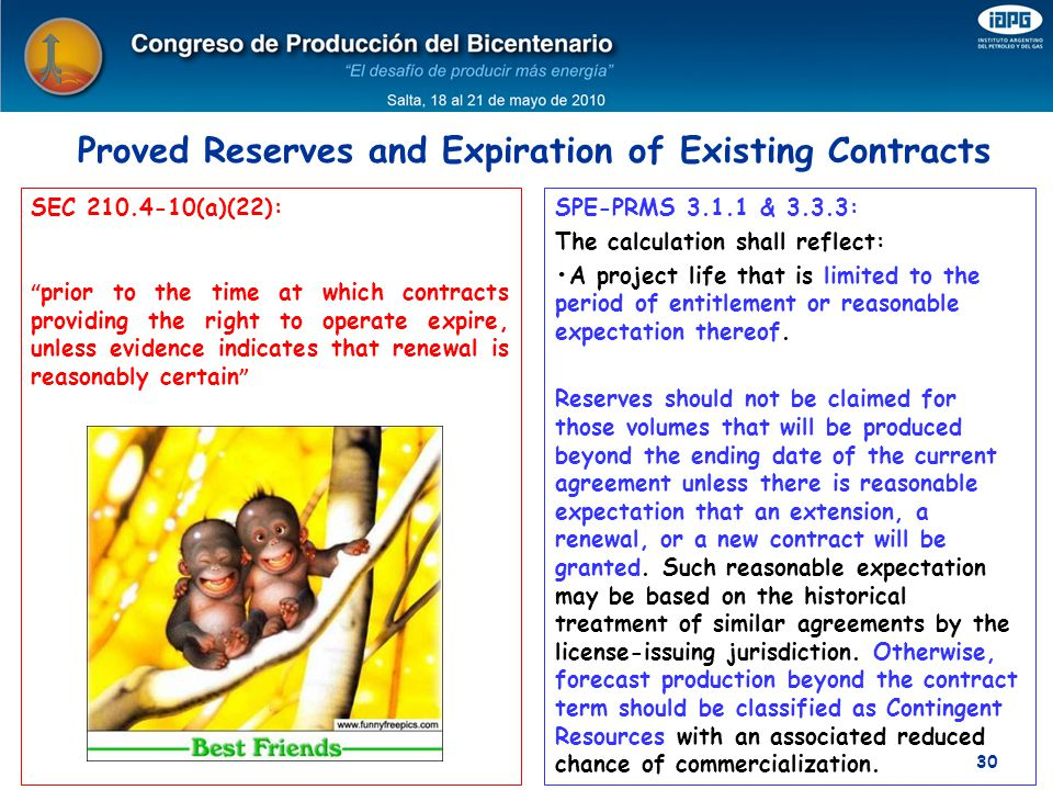 Proved Reserves and Expiration of Existing Contracts