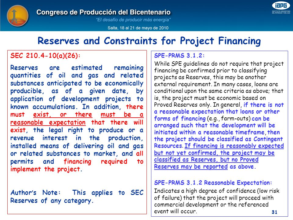 Reserves and Constraints for Project Financing