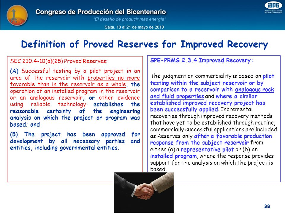 Definition of Proved Reserves for Improved Recovery