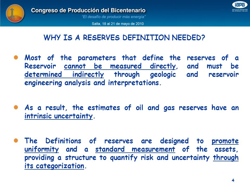 WHY IS A RESERVES DEFINITION NEEDED