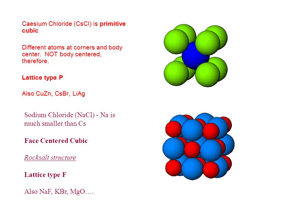 Sodium Chloride (NaCl) - Na is much smaller than Cs