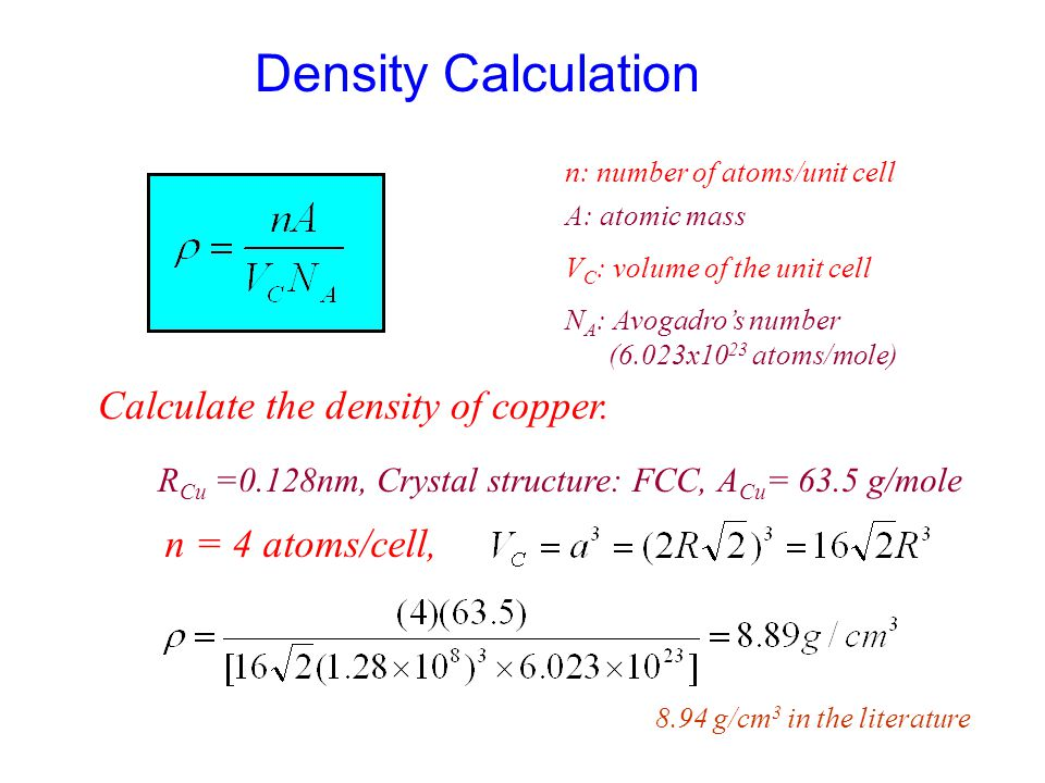 Density Calculation Calculate the density of copper. n = 4 atoms/cell,
