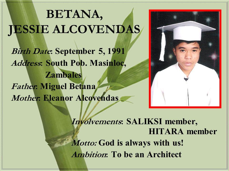 BETANA, JESSIE ALCOVENDAS