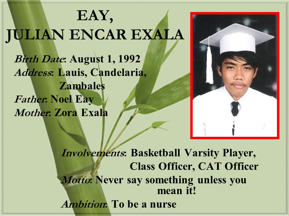 EAY, JULIAN ENCAR EXALA Birth Date: August 1, 1992