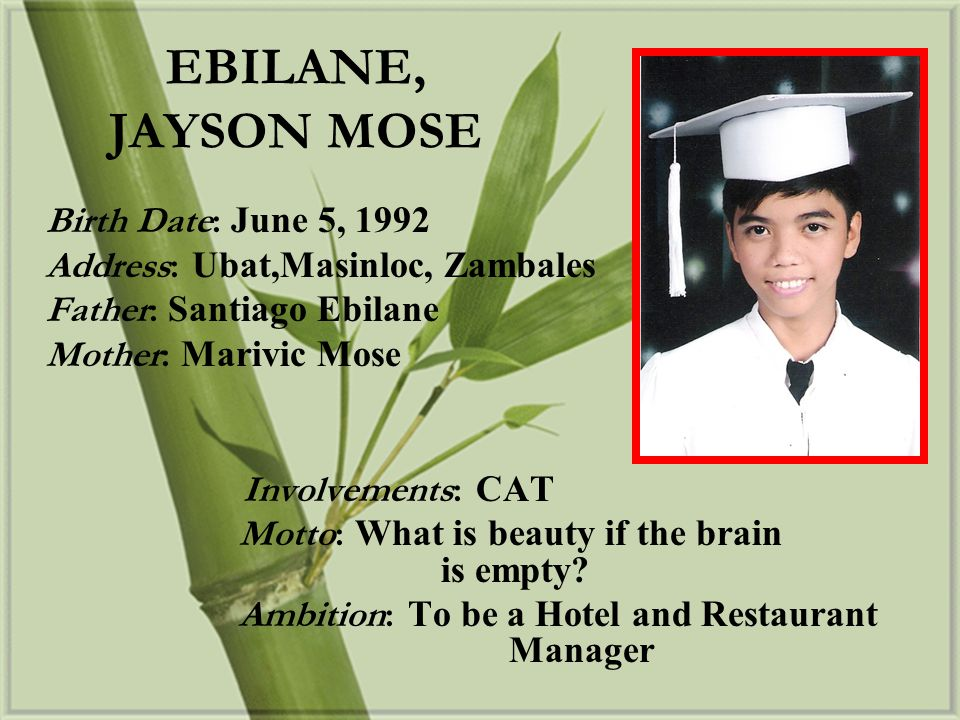EBILANE, JAYSON MOSE Birth Date: June 5, 1992