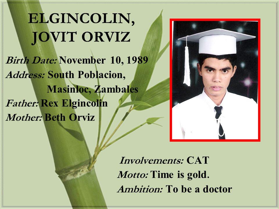 ELGINCOLIN, JOVIT ORVIZ
